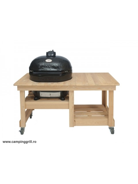 Grill ceramic Primo Oval XL in masa de lemn