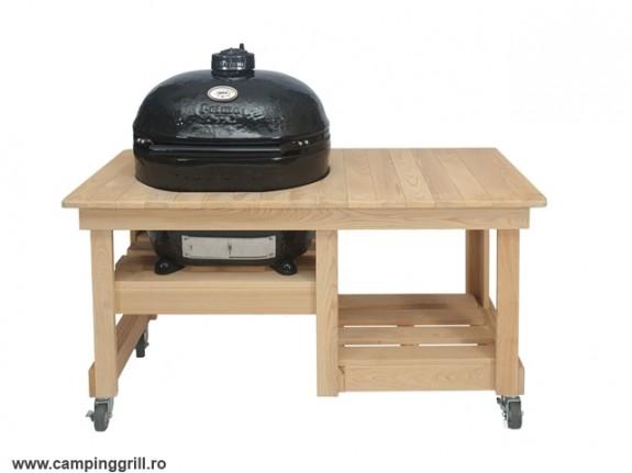 Grill ceramic Primo Oval XL in masa de lemn