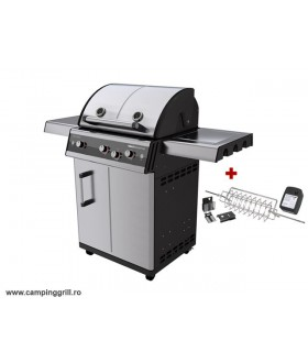 Stainless steel grill with rotisserie DUALCHEF S 325G