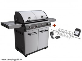 Stainless steel grill with rotisserrie DUALCHEF S 425G